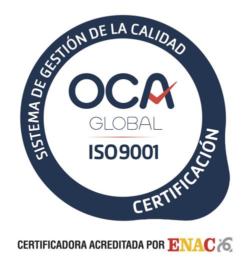 Formatecyl dispone de un sistema de gestión de la calidad certificado de acuerdo a la norma ISO9001 por OCA CERT