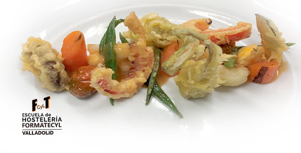 Receta de menestra de verduras, tempuras y shitakes